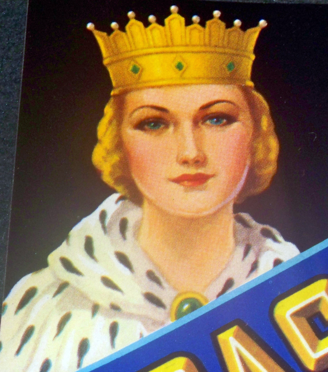 Beautiful Blue Eyes! Coast Queen Crate Label, 1940's
