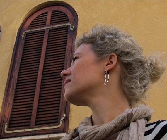 Gorgeous Wave Dangling Earrings. Modern Earrings w/h little spiral. Long Earring
