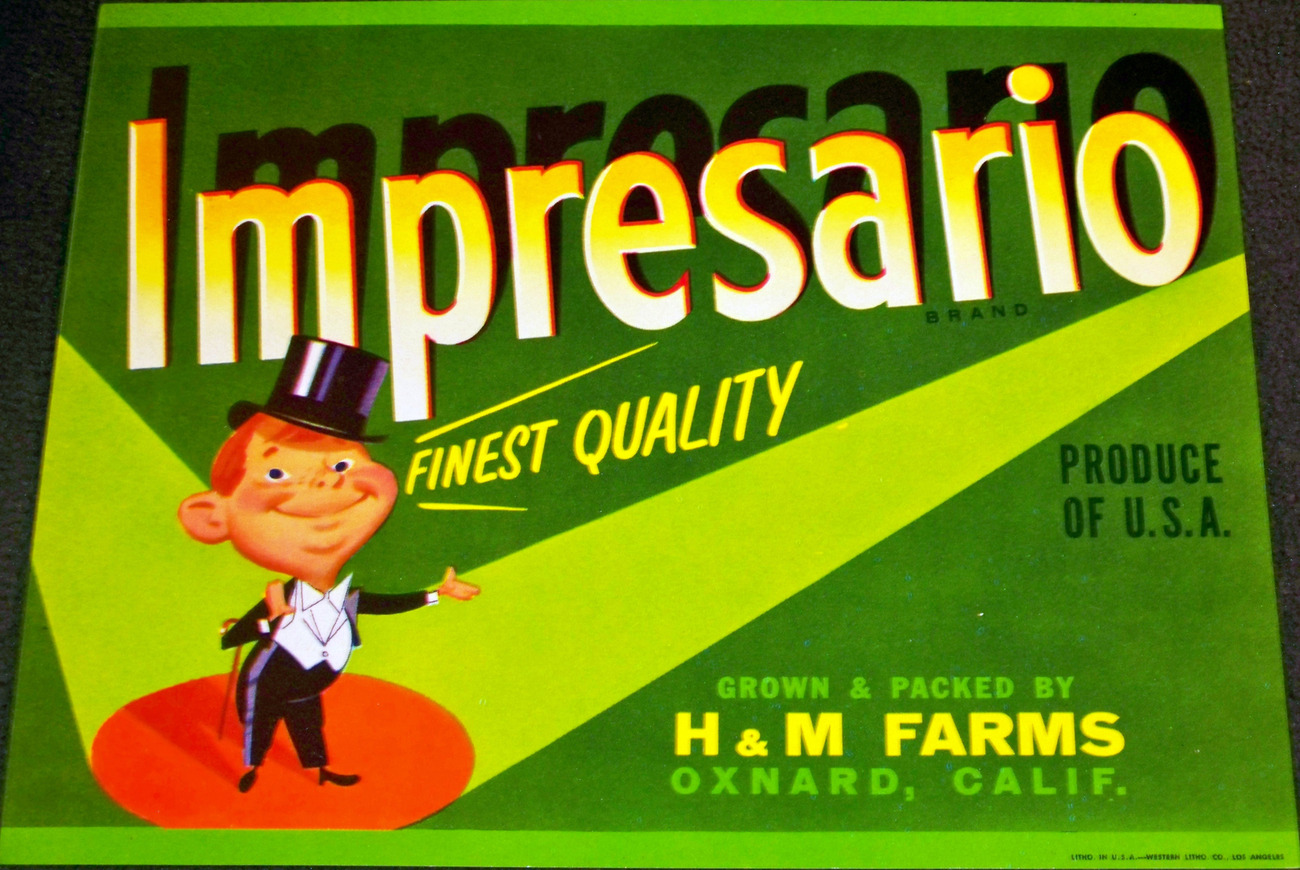 Under the Spotlight! Impresario Crate Label, 1950's