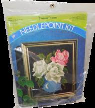Vintage Pauline Denham Floral Needlepoint Kit Rose in Blue Vase 1972 - $9.70