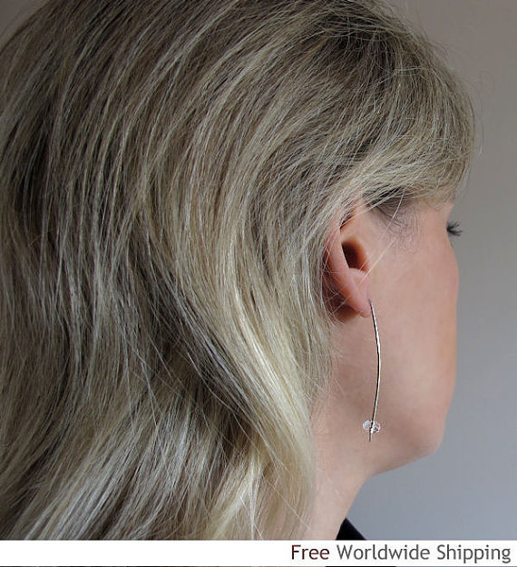 Sterling Silver Stick Earrings w/h Clear Quartz Crystal. Long Faceted Earrings