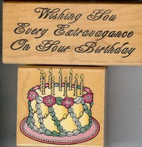 Lot of 2 Rubber Stamps E-993 & E-1187 Wishing Every Extravagance & Cake S42 - $7.84