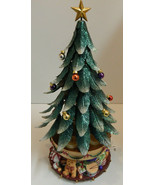 2003 PARTYLITE MAGNETIC METAL GLOWING MUSICAL CHRISTMAS TREE WITH ORNAMENTS - $69.25