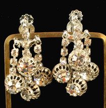 Vintage Gorgeous Hatti Carnegie Paste Rhinestone Drop Dangle Clip Earrin... - $121.49