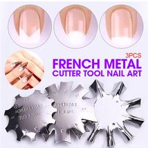 3 PCS French Smile Nail Stencil Cutter Trimmer Clipper Cut Multi-Size Manicure image 2