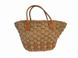 XL Large Woven Ralph Lauren Straw Beach Tote Bag Shopping Shoulder Purse Leather image 6