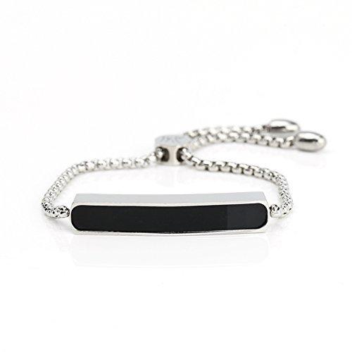 UNITED ELEGANCE Silver Tone Bolo Bar Bracelet With Striking Jet Black Inlay