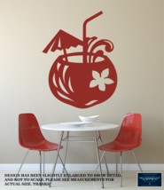 COCONUT COCKTAIL BEACH HOUSE LARGE WALL VINYL DECAL STICKER REMOVABLE 22... - $24.95