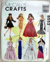 McCalls Crafts 8552 VTG, Fashion Wardrobe Doll 8 Dresses Gowns Bridal Dr... - $6.00