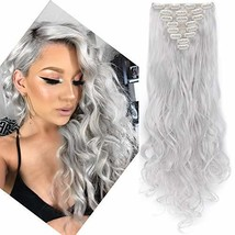 24 Inches Silver Grey Long Curly Wavy Clip in on 8 Pieces Full Head Set Hair Ext