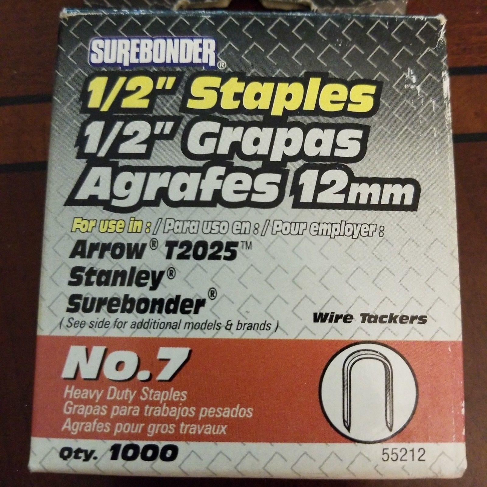 "Surebonder No. 7 1/2"" Heavy Duty Wire Tacker Staples 1000 Pack 55212"