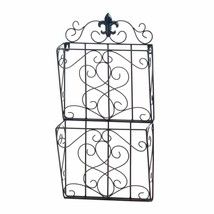 Mail Wall Rack, Fleur-de-lis Dual Decorative File Folder Wall Mount Maga... - $40.59