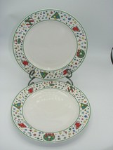 NEW Set of 2 Block CHRISTMAS PARTY 10 7/8' Dinner Plate 868576 Red Green - $23.83