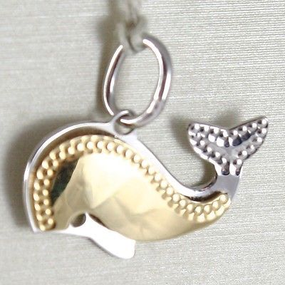 YELLOW GOLD PENDANT WHITE 750 18K, WHALE DOUBLE LAYER, PENDANT, 1.5 CM