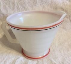 Vitrock Milk Glass Creamer Black & Red Stripes - $8.59