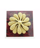 New Old Stock ROSA FLORES Large Textured Gold Tone Flower Pin Brooch - $23.76