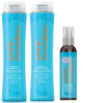 PURE BRAZILIAN - 3 Piece: Anti-Frizz Shampoo, Conditioner, Nourishing Oil
