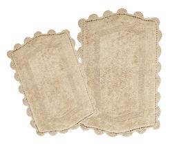 Reversible 100% Long Staple Cotton Tufted Hand crochet lace set (Set of 2) - $59.99