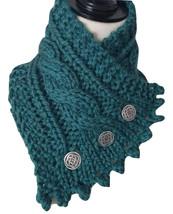 Irish Knit neck warmer,Ocean green with pewter buttons, bulky merino yarn  - $39.00