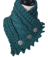 Irish Knit neck warmer,Ocean green with pewter buttons, bulky merino yarn  - $39.00