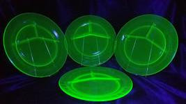 Vintage Anchor Hocking Uranium Glass Block Optic Grill Plates, Set of 4,... - $45.00