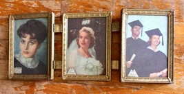 Vtg Brass Picture Frame Gold Tone Metal Tri Fold Hinged Metalcrafters no... - £22.85 GBP
