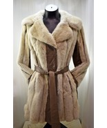 Vintage Light Colored Fur & Brown Leather Fully Lined Coat - Women's... - $142.45