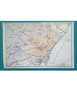 "SPAIN Barcelona & Environs - 1913 Baedeker Map 4 x 6"" (10 x 15 cm) - $9.00"