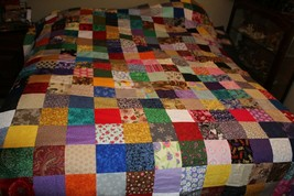 Quilt top patchwook design size 81 by 97 ready to quilt lots of colors i... - $148.50
