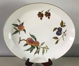 """Evesham Gold Oval Platter Porcelain Royal Worcester Fruit Gold Trim 14-5/8"""" - $33.96"""