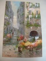 Y Gianni . listed artist . Vintage Gouache Painting Venice Street Scene - $1,200.00