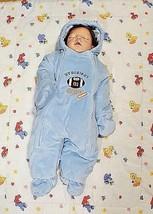 "Carter's Infant Baby Blue Fleece Winter Bunting Pram Snowsuit ""Dad Hero"" 6-9M - $14.84"