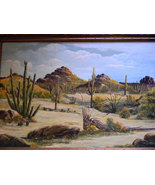 """Paul Blum .  40"""" x 28"""" Framed Oil on Canvas Southwest Scene - $650.00"""