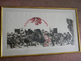 """Swanson . signed .  41"""" wide Wood Block print. Symphony Orchestra . 9/20 - $2,200.00"""