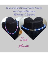 Blue and Pink Dragon Veins Agate and Crystal Necklace - New! - $22.00