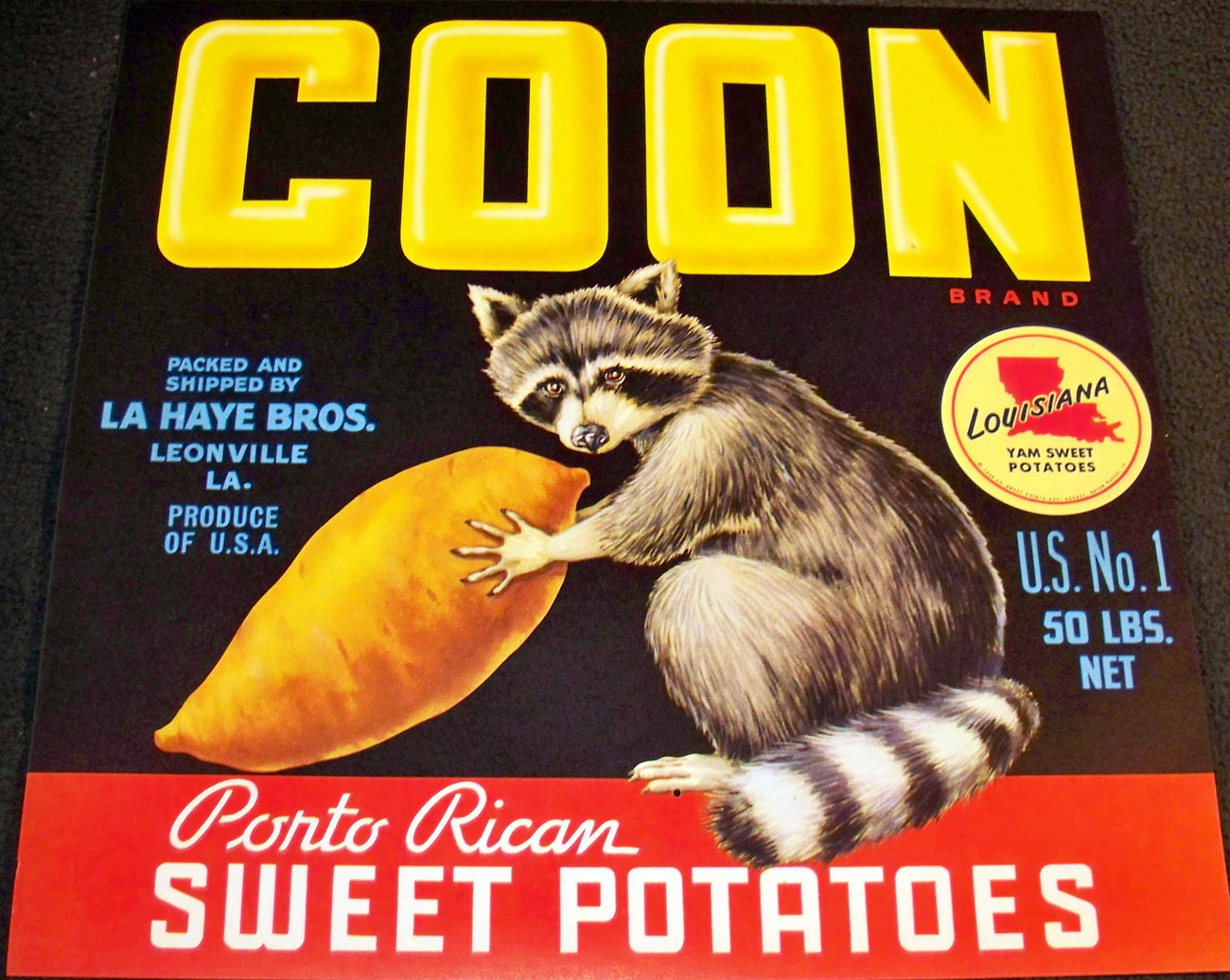 Thief of the Night! Coon Crate Label, 1940's