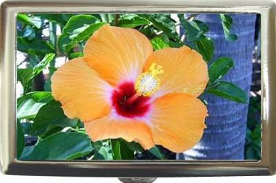 TROPICAL HIBISCUS FLOWER CIGARETTE CASE GORGEOUS! NEW!