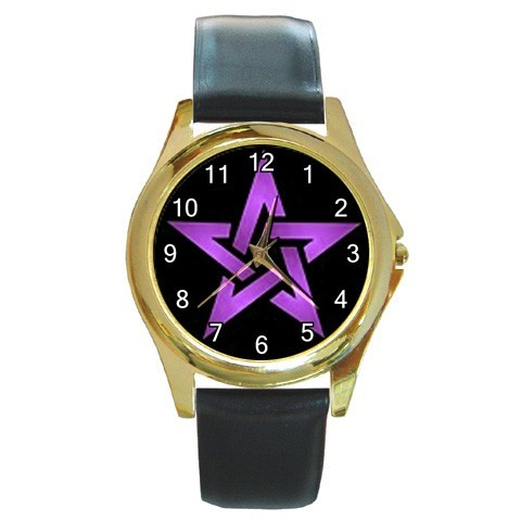 Wiccan 5 purple pentacle round gold metal watchlg