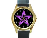 Wiccan 5 purple pentacle round gold metal watchlg thumb155 crop