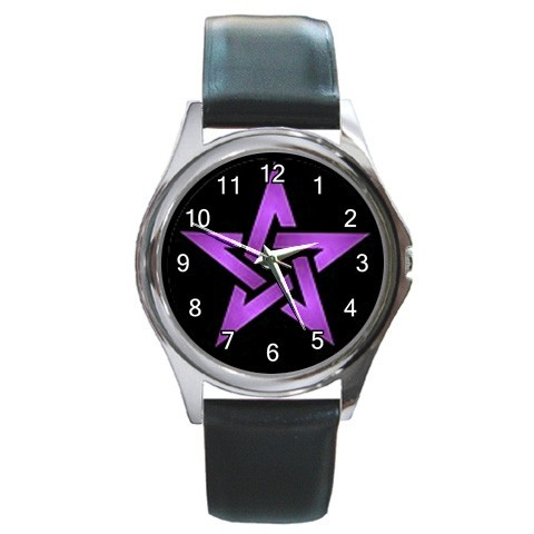 Wiccan 5 purple pentacle round metal watchlg