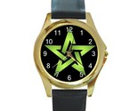 Wiccan 5 green pentacle round gold metal watchlg thumb155 crop
