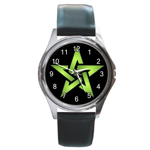 Wiccan 5 green pentacle round metal watchlg