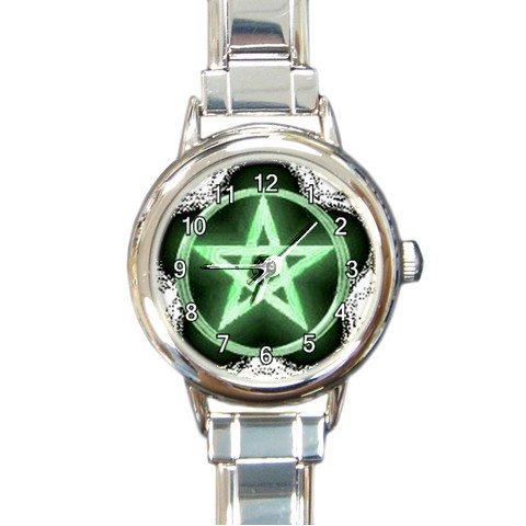 Wiccan green pentacle round italian charm watchlg