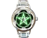 Wiccan green pentacle round italian charm watchlg thumb155 crop