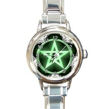 Wiccan green pentacle round italian charm watchlg thumb200