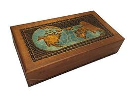 World Map Wooden Box Polish Handmade Keepsake Box Beautiful Decorative Box - $45.53