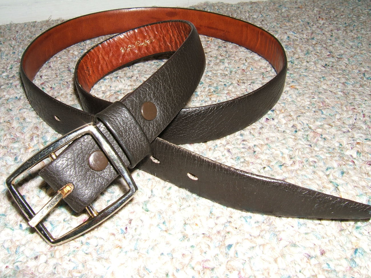 EXCELLENT BLACK GENUINE WATER BUFFALO LEATHER BELT-34 36