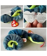 Ty Beanie Baby Hissy Original Retired Snake P.E. Pellets Error Wrong Han... - $141.61
