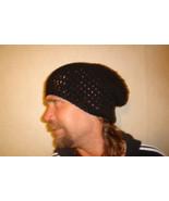 Hand crocheted black beanie/cap/hat/slouch/tam - $10.00