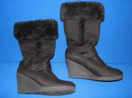 10 American Eagle Ladies Womens Tall Black Faux Leather Wedge Heel Boots Shoes - $29.99